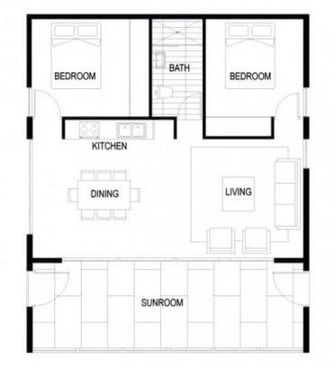 Plano de casa autosustentable de dos dormitorios