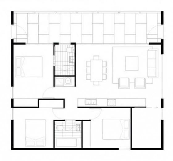 Plano de casa autosustentable de tres dormitorios