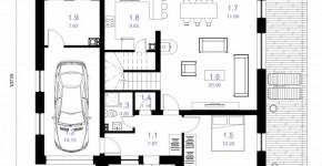 Plano de casa cuadrada de dos pisos