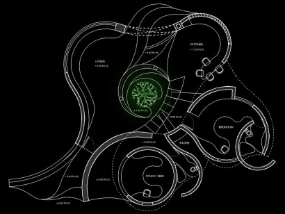 Plano de casa orgánica conectada a la naturaleza
