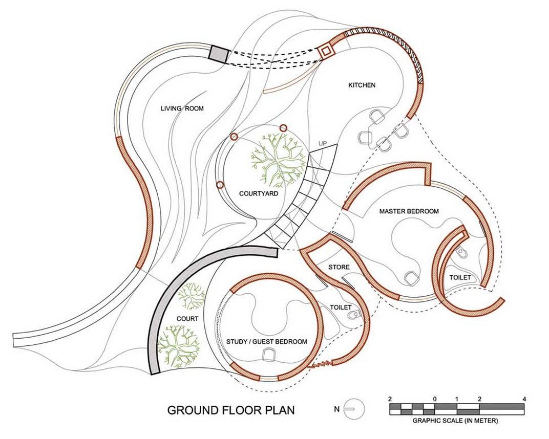 Baño Vista En Planta:Plano de casa rústica organica de formas circulares
