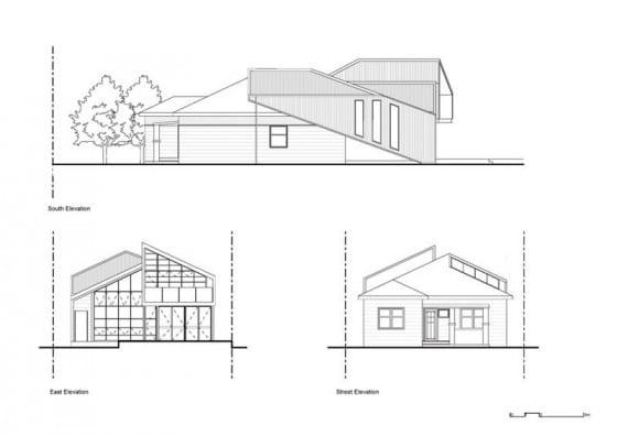 Planos de elevación de casa moderna remodelada