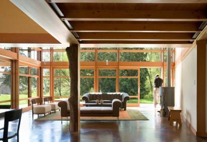 Decoración de interiores de casa de campo moderna