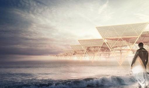 Diseño de casa de bambú en la playa