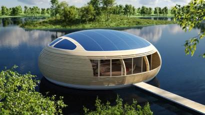 Diseño de casa ecológica circular flotante