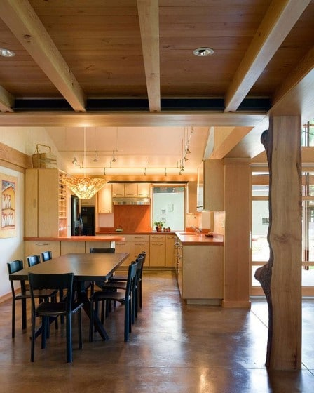 Diseño de cocina de madera de casa campo
