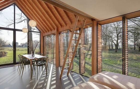 Diseño de comedor de cabaña de madera
