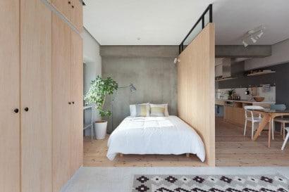 Diseño de dormitorio abierto de departamento