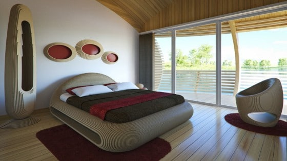Diseño de dormitorio moderno ecológico