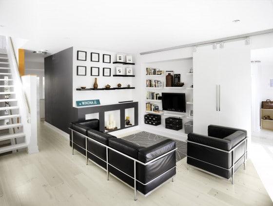 Diseño de interiores de sala moderna en blanco y negro