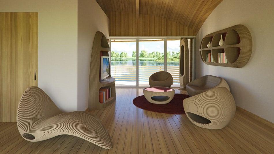 Diseño de interiores luce muebles ecológicos y con forma orgánica