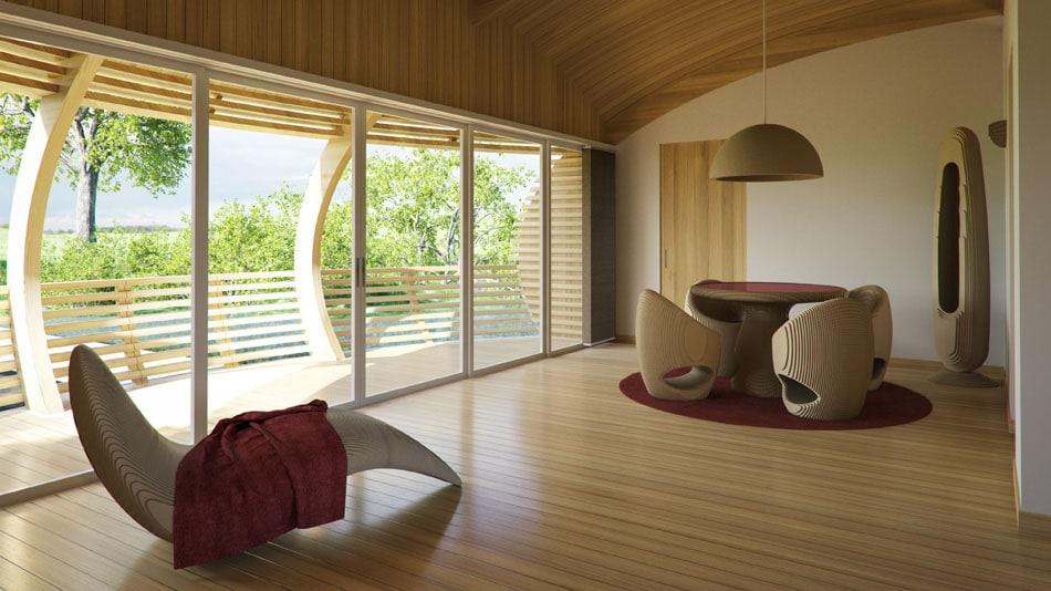 Diseño de modernos muebles del comedor y de descanso