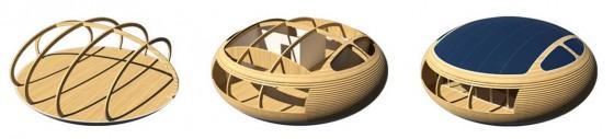 Estructura de casa circular construida en madera