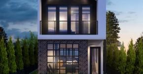 Fachada de casa de dos pisos angosta