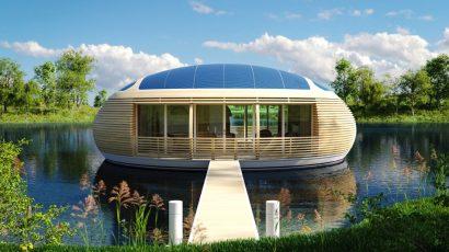 Fachada de casa ecológica de madera de forma circular