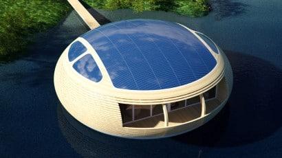 Paneles solares de casa ecológica circular