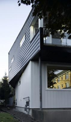 Perfil de fachada de casa moderna de dos plantas