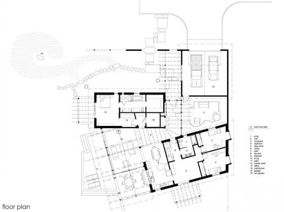 Plano de casa de campo de un piso moderna