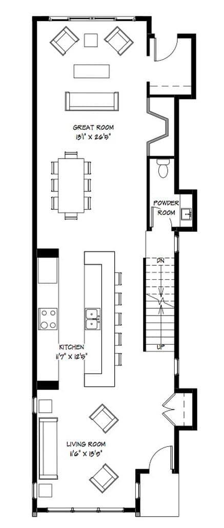 Planos casa dos pisos angosta y larga dise o construye for Planos de cocinas gratis