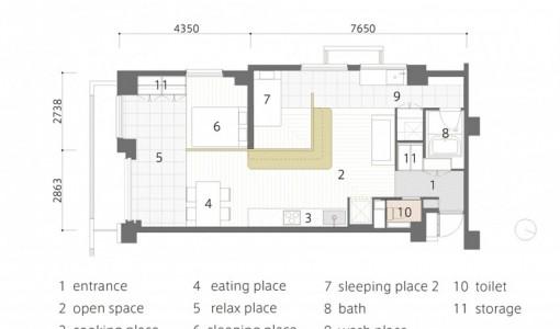 Plano de departamento pequeño de 60 m²