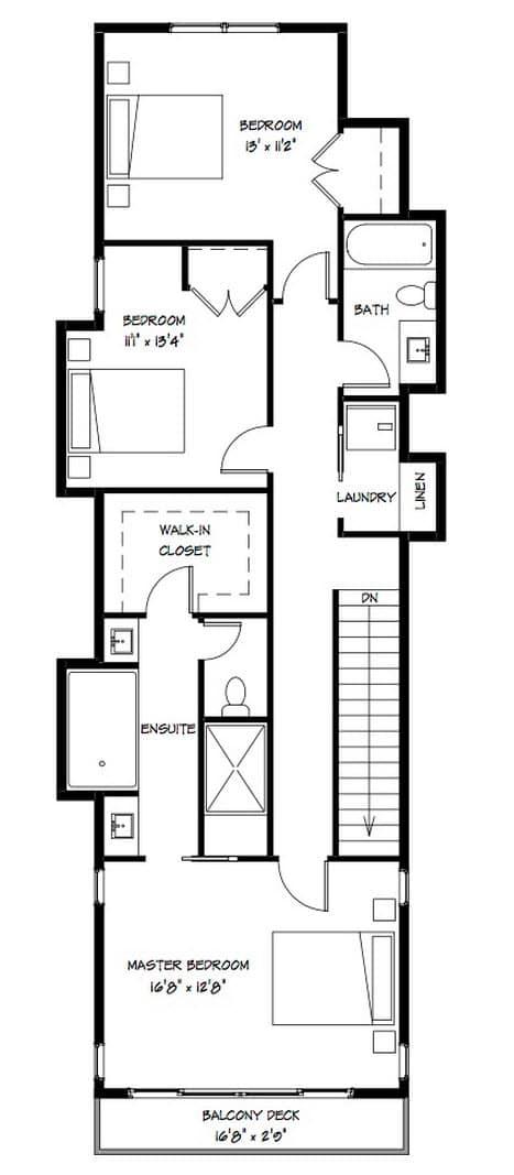 Planos casa dos pisos angosta y larga dise o construye for Modelos de departamentos pequenos para construir