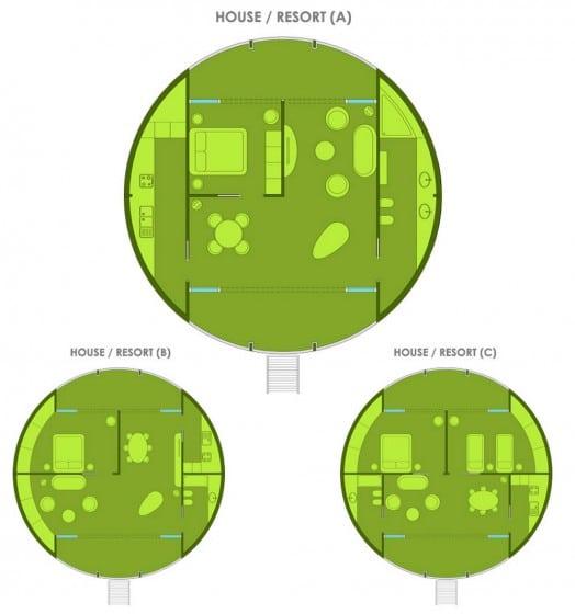 Planos de casa circular ecológica flotante
