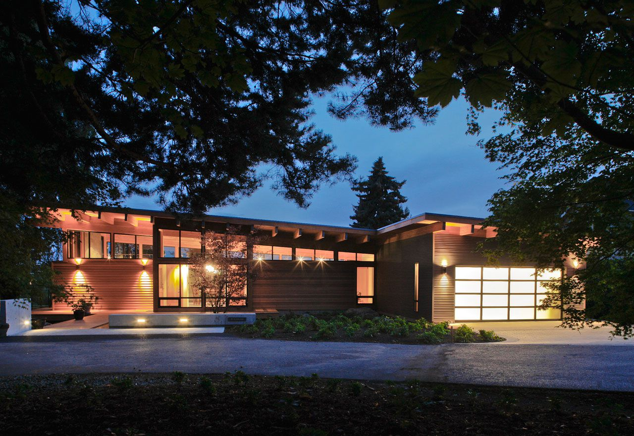 diseo de moderna casa de madera de una planta
