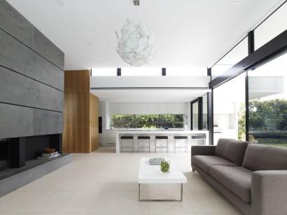 Diseño de sala y cocina moderna de casa de dos plantas