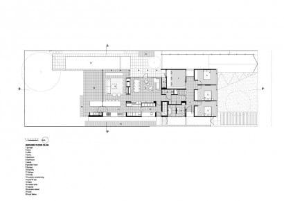 Planno de casa de dos pisos moderna