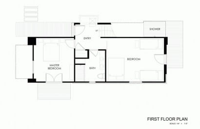 Plano de cabaña de dos dormitorios