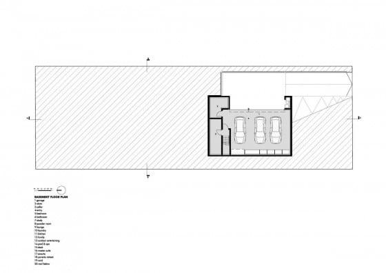 Plano de casa de dos pisos con sótano