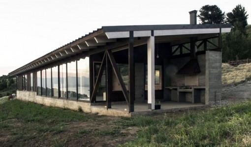 Vista de perfil de casa de campo moderna