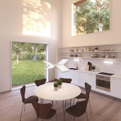 Diseño de comedor con techo a doble altura
