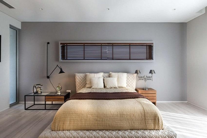 diseo de dormitorio de cama dos plazas paredes gris
