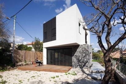 Diseño de fachada moderna de dos plantas