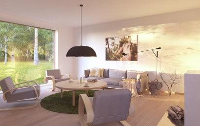 Diseño de interiores de sala de casa pequeña