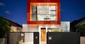 Fachada frontal de casa moderna de dos plantas