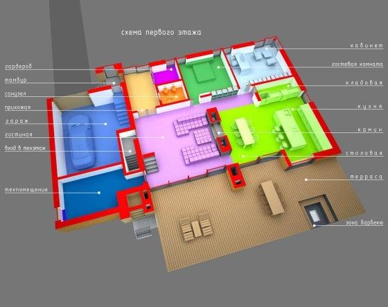 Plano 3D de casa de madera de dos pisos mas sótano