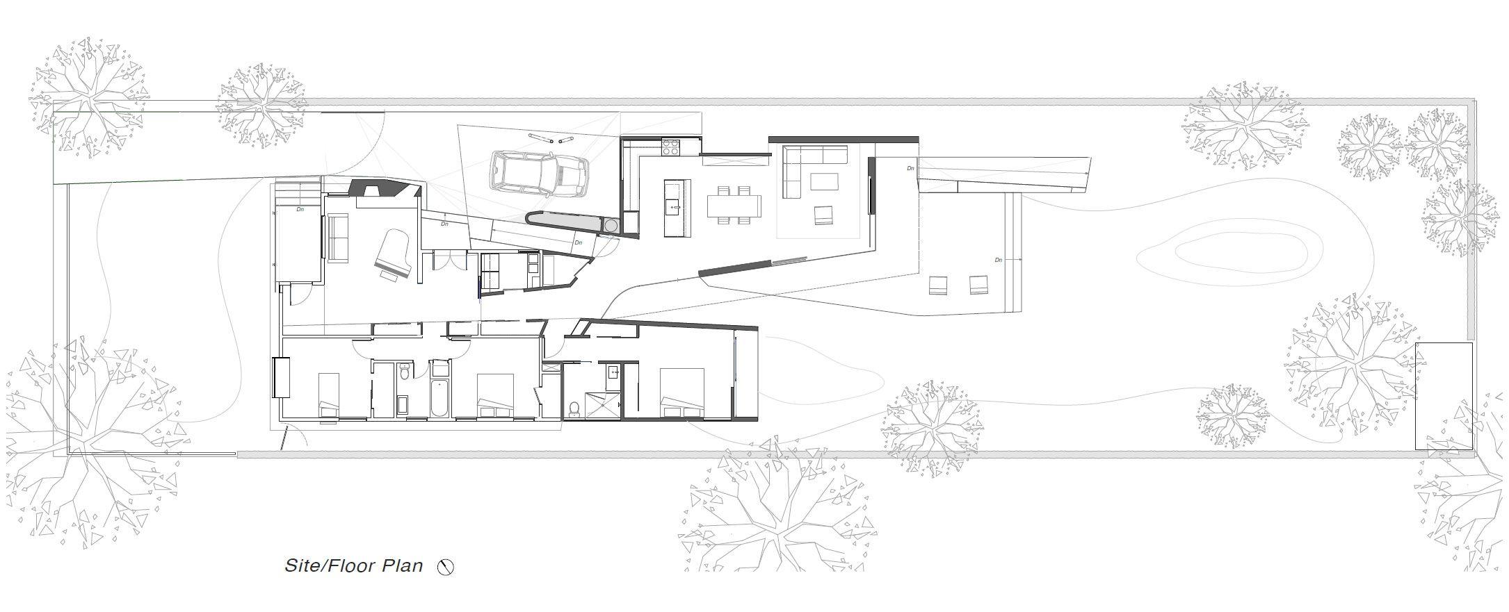 Plano de casa de una planta de tres dormitorios for Planos de casas de tres dormitorios en una planta