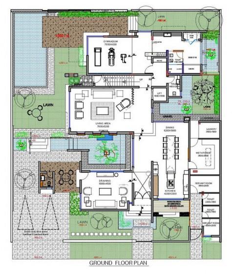 Plano de casa moderna de tres pisos - primer nivel