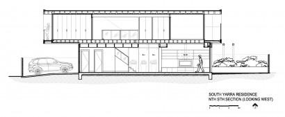 Plano de corte de casa de dos pisos moderna