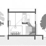 Plano de cortes casa dos pisos moderna