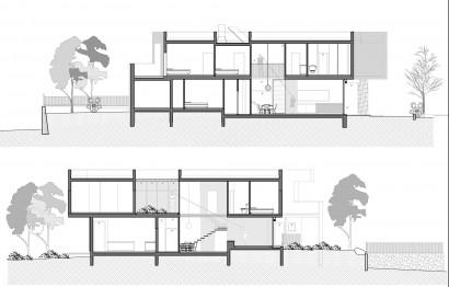 Plano de cortes de casa moderna dos plantas