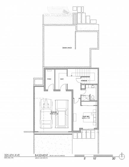 Plano de semi sótano de casa ecológica