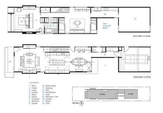 Planos de casa  larga y angosta de dos pisos