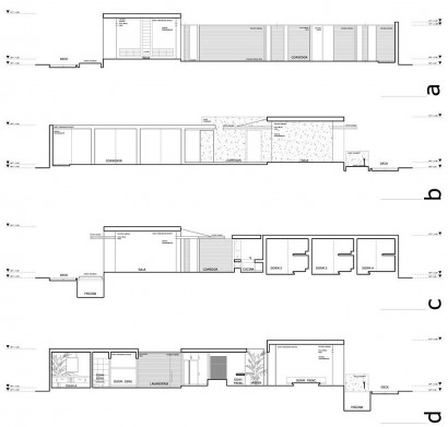 Planos de corte de casa de playa de un piso