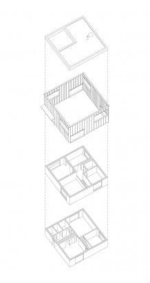 Diseño de casa cuadrada - planos superpuestos