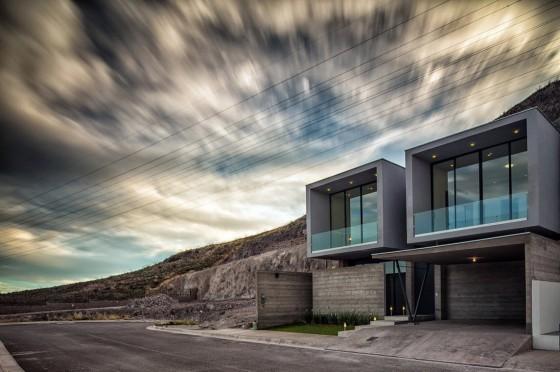 Diseño de casa de dos pisos de hormigón