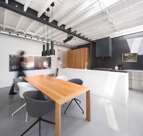 Diseño de cocina comedor minimalista de departamento