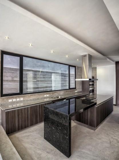 Diseño de cocina moderna de granito negro